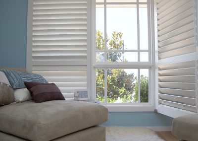 White Open Wooden Shutters